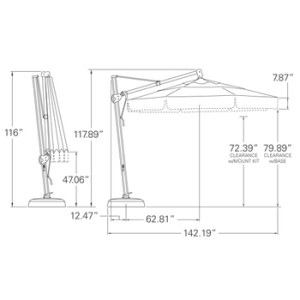 11 ft. Cantilever Umbrella Dimensions