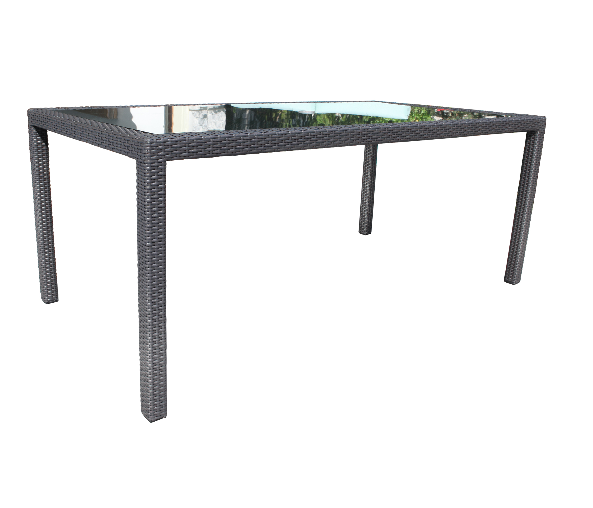Chorus wicker dining 84 rectangular table patio at sun for Wicker patio table