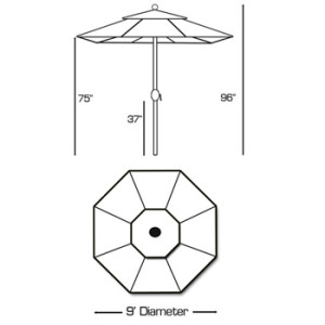 patio umbrella dimensions - 9 ft standard